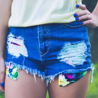 Floral Pocket Denim Shorts