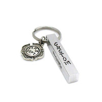Fireman Keychain, Aluminum Bar Keychain, Personalized Keychain, Custom Keychain, Firefighter Keychain, Father's Day Gift, Hand Stamped