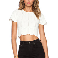 Lucy Paris Seashell Scallop Crop Sweater in White