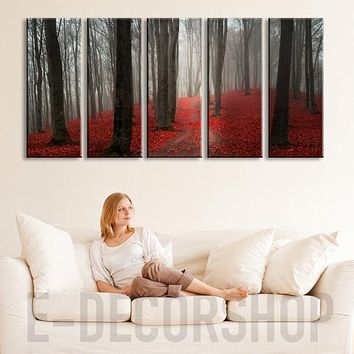 LARGE CANVAS ART Red Forest with Fog in Autumn Canvas Prints Prints For Wall Autumn Prints On