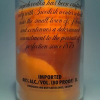 (1) Orange Absolut 20 oz Soy Candle With One Wood Wick - Bottle Heaven