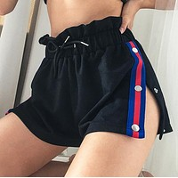 Summer New fashion stripe split shorts women Black