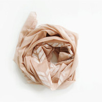 Hand dyed and stamped oversized, lightweight scarf. Sand. Light tan color.