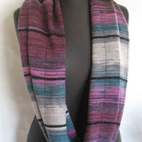 Purple Striped Infinity Scarf Cowl Wrap Violet Blue Burgundy Green Gray Dove