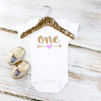 Girl's 1st Birthday Onesuit or Shirt | Sparkly Glitter Gold 'One' and Arrow w/ Purple Heart