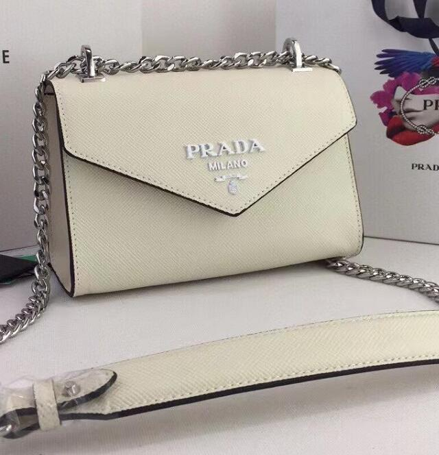 Image of PRADA WOMEN'S LEATHER INCLINED CHAIN SHOULDER BAG