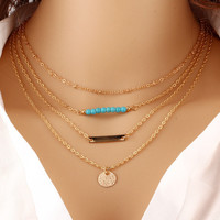 Summer Hot Fashion Gold Plated Fatima Hand 3 Layer Chain Bar Necklace Beads and Long Strip Pendant Necklaces Jewelry N17