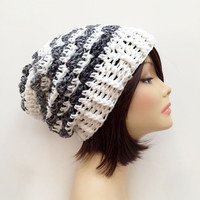 FREE SHIPPING - Crochet Slouchy Beanie - White, Gray, Charcoal, Heather Gray