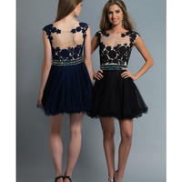 Dave & Johnny 10425 Black Tulle & Lace Short Dress 2015 Prom Dresses