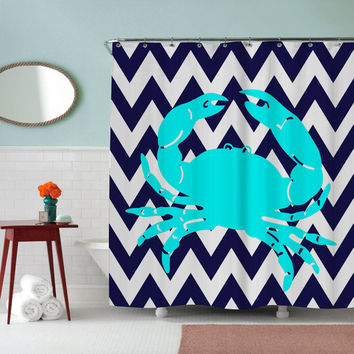 Crab with Deep Blue Chevron Shower Curtain