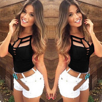 New 2016 Sexy Women Tank Tops Ladies Summer Casual Sleeveless Bandage Hollow Out Slim Vest T-shirt