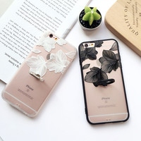 Simple Design Lace Floral Iphone Phone Case Apple Ring Soft Rack [8267677511]