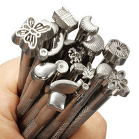 1 Set 20pcs Durable Leather Working Saddle Making Tools Carving Leather Craft Stamps Solid Metal = 1932171780