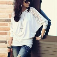 NEW Women Fashion Long Batwing Sleeve Loose Casual Lace T-shirt Top Blouse M:Amazon:Sports & Outdoors