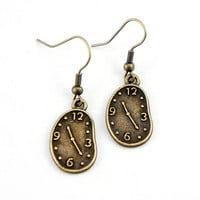 Clock Earrings - Antiqued Brass Vintage Style Clock Dangle Earrings - Bridesmaids Gifts Ideas - CP028