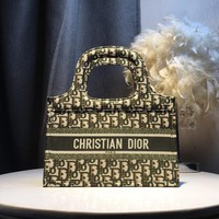 Kuyou Gb59717 Dior Book Tote Dior Green Oblique Bag  28x 19x9cm
