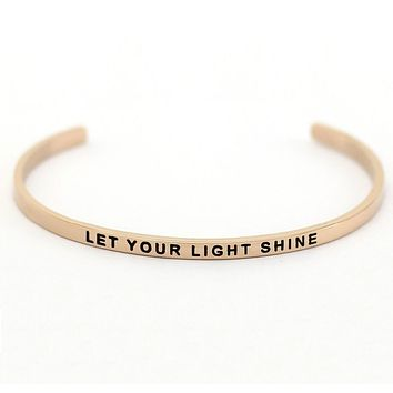 "Stainless Steel Engraved ""LET YOUR LIGHT SHINE"" Adjustable Inspirational Bangle"