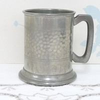 Pewter Tankard with Glass Bottom, Hammered Effect, Not Engraved, Made in England, English Pewter, English Beer Stein, Man Cave, Barware
