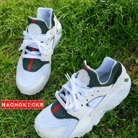 "Custom ""gucci"" nike huarache all white brand new all sizes"
