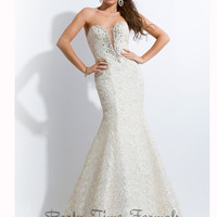 Textured Mermaid Gown by Party Time Formals 2715