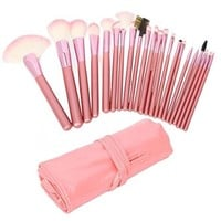 Accmart(TM) 22pcs Fashion Facial Make Up Brushes Tool Kit Professional Cosmetic Makeup Brush Set With Leather Pouch Case Pink: Amazon.ca: Beauty