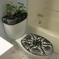 Set of 2 Crochet Covers for Toilet Seat & Toilet Tank Lid, Cozies - black (TSTTL12A)