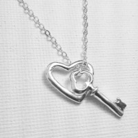 You Hold the Key to my Heart - Sterling Silver Love Necklace - Couples Necklace - You Have my Heart - I Love You Necklace - Gift for Her
