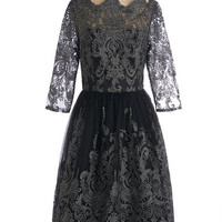 Chi Chi London Vintage Inspired Long 3 A-line Gilded Grace Dress in Noir
