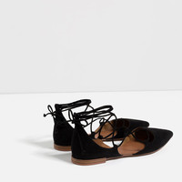FLAT LACE-UP D'ORSAY SHOES