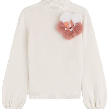 Fur Embellished Cashmere Turtleneck - Fendi | WOMEN | KR STYLEBOP.COM