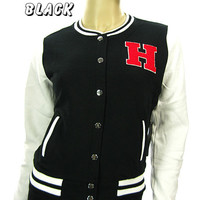 "Letter ""H"" Women's&Girl's Fashion Baseball Varsity Jacket Casual Jacket 4 Colors"