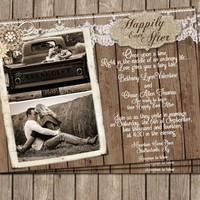 Burlap and Lace Invitation, Rustic, Wood, Photo Invitation, Happily ever after, Photo, Digital File Personalized, 5x7,