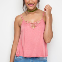 Cross Over Top - Coral