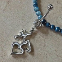 Browning and Buck and Doe with Heart Belly Ring 14ga Navel Rng Body Jewelry