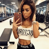 Women Fashion Print Letter Sleeveless Sports Vest Casual Crop Tops