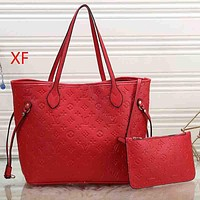 Louis Vuitton LV Fashion Leather Tote Handbag Satchel Shoulder Bag Set Two Piece