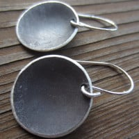 Silver Disc Earrings - Large Eclipse - hanging oxidized sterling silver discs