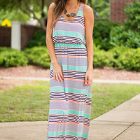 Believe The Stripe Maxi Dress, Mint-Orange