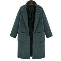 Vintage Lapel Long Sleeve Solid Color Pocket Thick Wool Coat For Women - Blackish Green 2xl