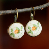 Antique Leverback Earrings - My Baltimore Album - Yellow and Green Flowers on Beige - Romantic Fabric Covered Buttons Earrings