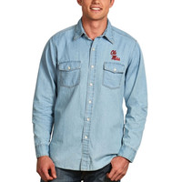 Ole Miss Rebels Antigua Chambray Long Sleeve Button-Down Shirt – Light Blue