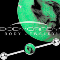 Glow in the Dark Howling Wolf Industrial Barbell in Stainless Steel | Body Candy Body Jewelry