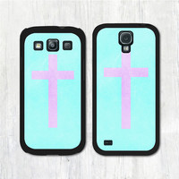 Pink Cross On Mint Samsung Galaxy s4 case, Galaxy s3 case, Galaxy s4 s3 cover