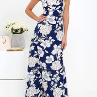 Blue Floral Print Sleeveless Open Back Maxi Dress