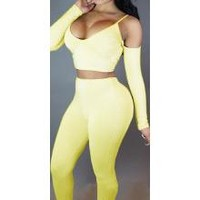 Bear Shoudler Spaghetti Straps Crop Top with Skinny Pants Two Pieces Set