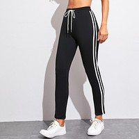 Tape Side Drawstring Waist Sweatpants