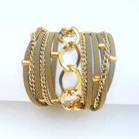 Boho Chic 5X Wrap Bracelet with Brown Suede cord and Gold Plated Chains.