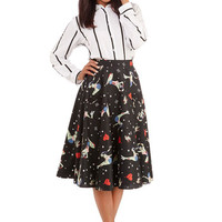 ModCloth 80s Long Full A Touch of Macabre Skirt