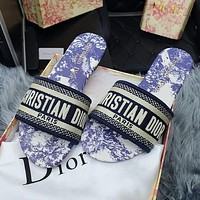 DIOR hot sale embroidered letter print slippers ladies sandals Shoes