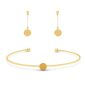 Gold-Tone Ball Bead Coin Medallion Round Choker Necklace and Earrings SetBe the first to write a reviewSKU# vs512-02
